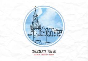Torre de Kremlin de aquarela de vetor grátis