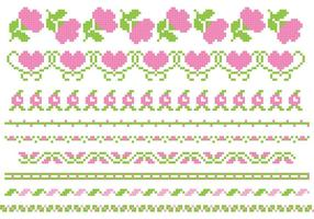 Banners vetoriais de rosas bordadas vetor