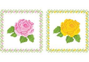 Vetores de flores de tapeçaria bordada