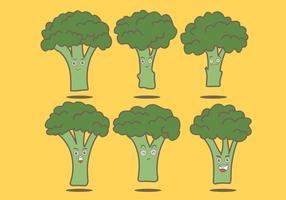 Vetores de desenhos animados de brócolis