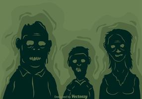Silhueta da família do zombi do vetor
