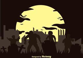 Silhueta do zombi do vetor