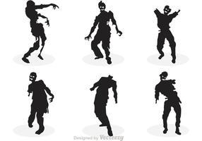Conjunto de silhueta do zombi do vetor