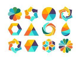 Conjunto colorido de formas vetor