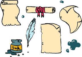 Série de vetores de papel rolados de desenhos animados