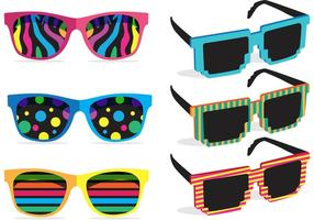 Vetores coloridos dos óculos de sol dos anos 80