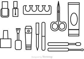 Ícones de esboço de pedicure de manicure vetorial vetor