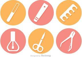Ícones vetoriais de pedicure de manicure de círculo vetor