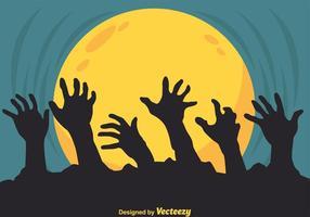 Silhueta das mãos do zombi do vetor