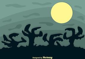 Silhueta dos desenhos animados das mãos do zombi vetor
