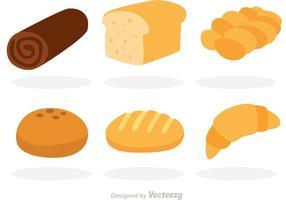 Ícones planos do pão do vetor