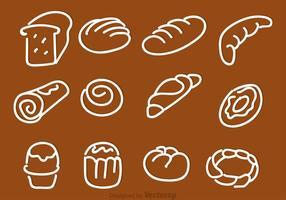 Ícones de vetor de pão desenhado à mão