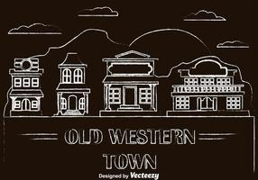 Vetores velhos da cidade ocidental desenhada por giz