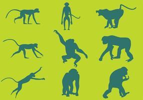 Vetores de silhuetas de macaco