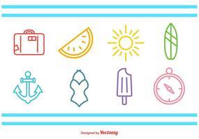 Ícones da Linha do Tempo do Verão vetor