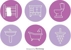 Ícones de vetores do círculo do banheiro