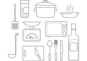 Ícones de cozinha vetorial vetor