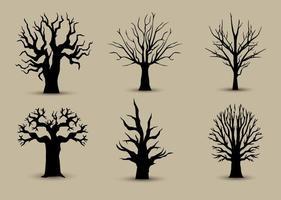 Silhuetas de árvore para trás vetor