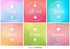 Etiquetas mínimas de primavera, verão, outono e inverno vetor