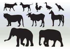 Colecção silhueta dos animais vetor
