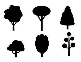 Ícones do vetor da árvore preta