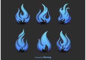 Silhuetas abstratas do fogo azul vetor