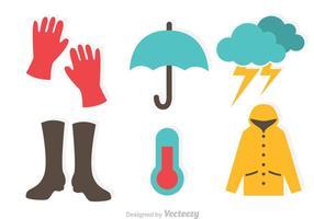 Ícones planos chuvosos vetor