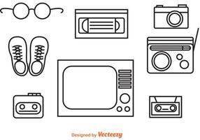 Ícones de contorno de objetos retros dos anos 80 vetor