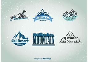 Insígnias do esporte do inverno montanha vetor