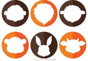 Ícones de círculo de cabeça de animal vetor