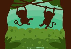 Silhueta de macaco na selva vetor