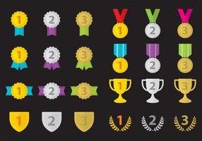 Ícones de vetores do primeiro lugar do troféu