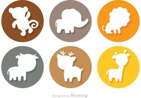 Ícones do círculo da silhueta dos desenhos animados de animais