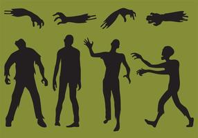 Silhuetas de vetores de zombis