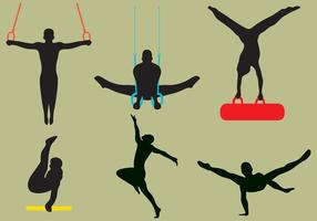 Vector Silhuetas de Gymnast Masculino