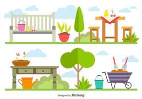 Elementos de jardinagem da primavera vetor