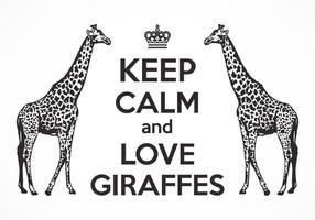 Livre mantenha a calma e ame o cartaz do vetor dos girafas