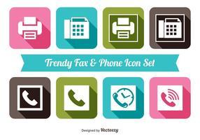 Conjunto de ícones de fax e telefone vetor