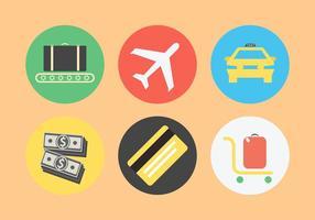 Conjunto de ícones relacionados com o aeroporto vetor