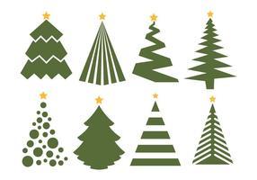 Conjunto de vetores de árvore de natal no fundo branco