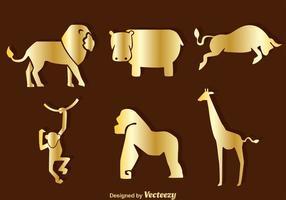 Ícones da silhueta dos animais do ouro vetor
