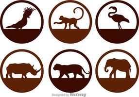 Ícones da silhueta dos animais selvagens vetor