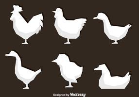 Ícones brancos de galinha poligonal vetor