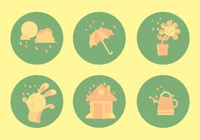 Conjunto de ícones de chuveiro de primavera vetor