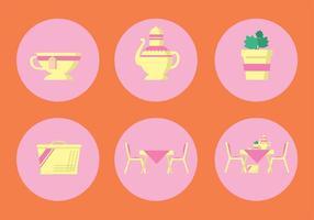 Conjunto de ícones de vetores de chá de alta