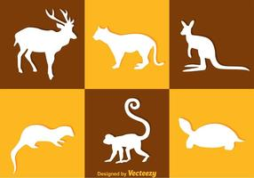 Animlas silhouette vector icons