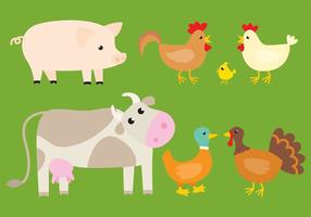 Vetor fazendas animais bonitas