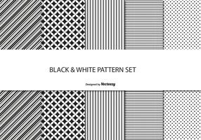 Conjunto de padrões preto e branco vetor