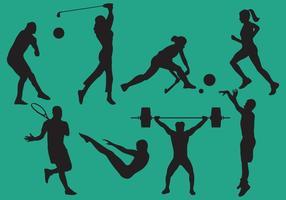 Mulher e homem silhuetas de esportes vetor