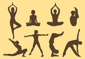 Mulher e homem silhuetas de ioga vetor